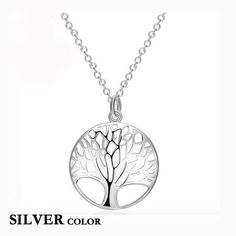 Hot Silver and Rose Gold Tree Of Life Pendant Necklace