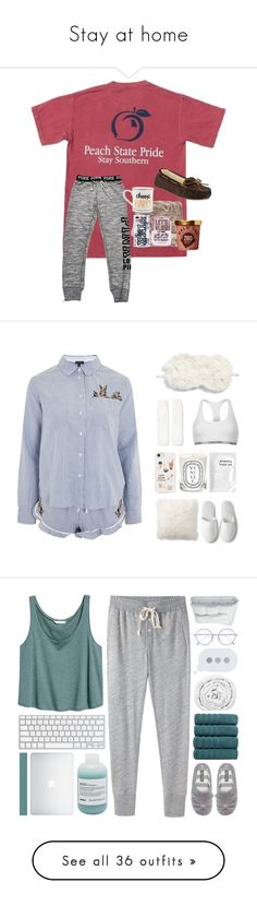 """Stay at home"" by jackiemcgrath ❤ liked on Polyvore featuring Victoria's Secret PINK, Slippers International, Victoria's Secret, Topshop, Nordstrom, Pottery Barn, Xhilaration, Calvin Klein, Diptyque and Joanna Vargas"