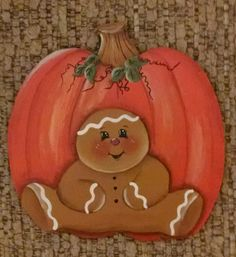HAND PAINTED GINGERBREAD Boy with A Pumpkin Magnet Original Design