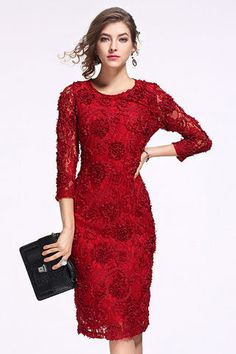 $111.99 Red 3/4 Sleeves Lace Sheath Dressproducts_id:(1000012970 or 1000012317 or 1000012661 or 1000012371) Lace Dress With Sleeves, Lace Sheath Dress, Dress P, Curvy Girl Fashion, Womens Fashion, Mexican Dresses, Red Lace, Girlie Clothes, Fashion Dresses