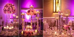 Wedding Centerpiece Design with pink lighting and pink flora designs here we have a pink light with some classy and beautiful centerpieces.