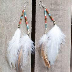 Joy Earrings//seed beads and feathers