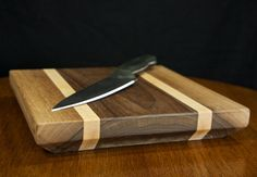 Thick Walnut and Maple Cutting Board by DrunkenWoodworker on Etsy, $80.00