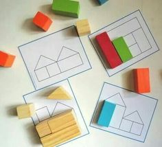 Autismus Arbeitsmaterial: Bauklötze mal anders You are in the right place about Montessori Activitie Montessori Activities, Educational Activities, Learning Activities, Preschool Activities, Dinosaur Activities, Quiet Toddler Activities, Block Center, Block Area, Block Play