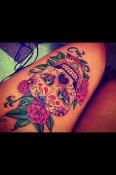 Sugar skull tattoo... O M G love/ other calf