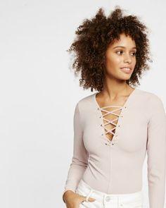 lace-up long sleeve thong bodysuit