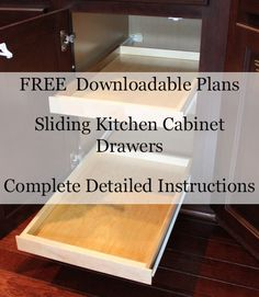 FREE Woodworking Plans for Sliding Kitchen Cabinet Drawers. Includes a 2-Measurement Calculator for every cabinet size in your kitchen. #DIY #Kitchen #House #Home
