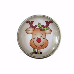 #3113 Cute Reindeer Christmas Snap 20mm for Snap Jewelry