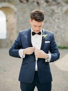 Tux wedding, wedding groom, wedding attire, navy groom, groom t Mens Wedding Tux, Blue Tuxedo Wedding, Wedding Suits, Wedding Attire, Wedding Groom, Diy Wedding, Wedding Favors, Wedding Ideas, Navy Groom
