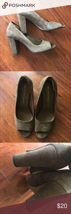 Cute suede tan heels Super cute for fall. I added a little slip guard in back but u can take off. EUC Franco Sarto Shoes Heels