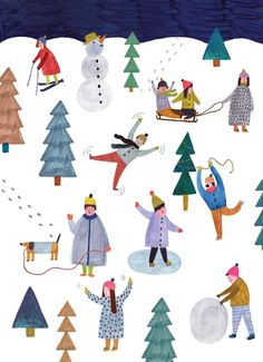 weihnachten illustration winter illustration of playing in the snow Creative Pictures, Creative Art, Christmas Art, Winter Christmas, Christmas Scenes, Christmas Cookies, Mountain Wallpaper Hd, Winter Szenen, Ideas