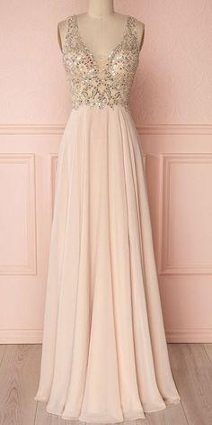 Pink v neck beads sequin long prom dress, pink evening dress Backless Prom Dresses, Prom Party Dresses, Homecoming Dresses, Sexy Dresses, Fashion Dresses, Formal Dresses, Pink Dresses, Prom Gowns, Occasion Dresses