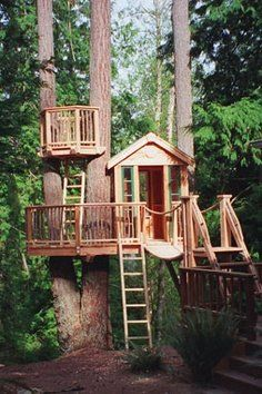 "Who doesn't LOVE an AWESOME tree fort? Wine drinkin' tree fort by golly! Retirement project, may have to call the ""Tree House Master"". Cubby Houses, Play Houses, Dream Houses, Future House, My House, Farm House, Tree House Designs, Diy Tree House, Simple Tree House"