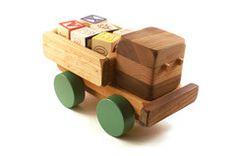 Handmade Wooden ABC Truck with Alphabet Blocks