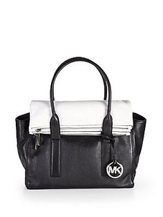 d595b12018e4 Michael Kors Handbag Tippi Large Satchel Black/White: Handbags: Amazon.com