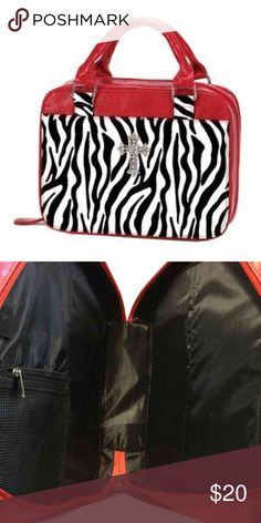 """Red Zebra Print Bible Tote Stylish bible tote rhinestones and with pocket as well Show-stopping stripes add runway style to this functional Bible tote. A favorite for any fashion-forward Christian lady! Faux leather(PU) with nylon lining; metal cross with plastic beads. 10 3/4"""" x 2 1/2"""" x 7 3/4"""" high; 11 1/2"""" high with handles.        ♡GOD BLESS♡ ☆BUNDLE AND SAVE☆ Bags Totes"""