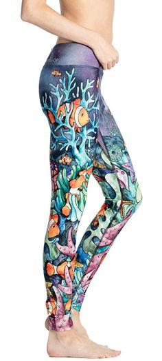 Coral reef inspired printed leggings with original artwork. Made in USA with Triathlon fabric. Yoga, Running, Surfing, SUP, Crossfit Shops, Triathlon, Printed Leggings, That Look, Clownfish, Coral, Pajama Pants, Bikinis, Cute