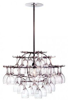 wine glasses chandelier....     lovely looking