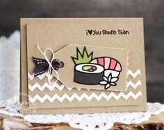 Card by Laurie Schmidlin using PS Sushi die, Calorie Free, Tag Scallop die, Borders 2 die