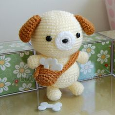 """*IMPORTANT NOTE* - This is a crochet pattern, not the completed toy.  He is sweet like honey and takes his bones where ever he goes!  This pattern is easy to follow but requires basic crochet knowledge. You should be familiar with: ♥ crocheting in rounds (or spiral) ♥ single crochet ♥ increasing ♥ decreasing  Doggy stands approximately 8"""" tall (this may vary depending on the yarn and the size of crochet hook used).  The pattern is in PDF format and will be available for download following…"""