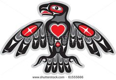 alaskan native american tribe animal symbols | Eagle in Native Art Style with Heart Shape - stock vector