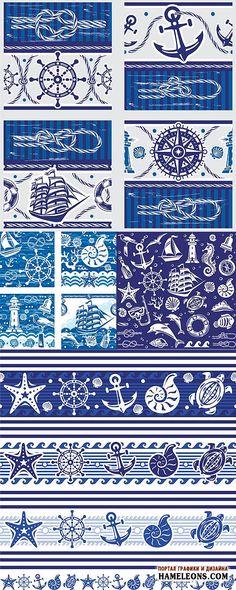 Морские фоны, баннеры, бордюры, элементы - штурвал, якорь, морская звезда, ракушки, морские узлы, маяк - Векторный клипарт   Marine elements vector