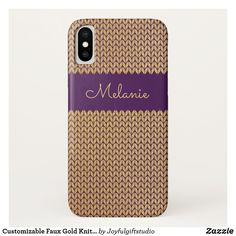 Shop Customizable Faux Gold Knitted Pattern I Purple Case-Mate iPhone Case created by Joyfulgiftstudio. Samsung Cases, Iphone Cases, Purple Backgrounds, Knit Patterns, Birthday Gifts, Goodies, Girly, Notes, Silver