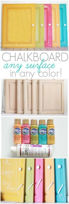 super cool - this CLEAR chalkboard paint goes over ANY other paint, turning it into a chalkboard surface!! chalkboard any surface in any color - Lolly Jane Crafts To Do, Diy Projects To Try, Home Crafts, Diy Crafts, Diy Home Decor, Home Projects, Decoration, Bunt, Chalkboard Art