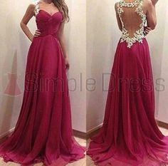 Simple Dress Elegant Burgundy Long Sweetheart Chiffon Prom Dresses/Graduation Dresses/Evening Dresses CHPD-7116