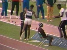 USA's Bob Beamon breaks the world record in the long jump by nearly two feet during the 1968 Mexico City Olympic Games.    He ran like a cheetah, jumped like a horse, flew like a bird, landed like a cat, jumped out of the pit like a kangaroo, bounced around like a penguin and when the record came, he fell to ground like a human! First time ever seeing the video. Amazing!  Written by a fan!