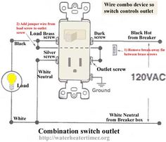how to wire switches combination switch outlet light fixture turn rh pinterest com Half Switched Outlet Two Wire Switched Outlet