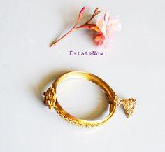 Hinged Cuff Bracelet Vintage Gold Tone Boho Jewelry by ESTATENOW