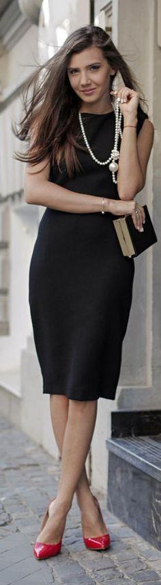 Sleeveless Midi black dress @roressclothes closet ideas #women fashion outfit #clothing style apparel