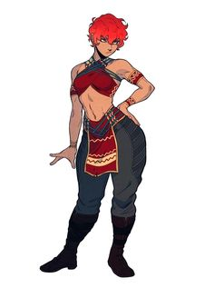 Female Half-Elf Redhead Curvy Monk - Pathfinder PFRPG DND D&D 3.5 5th ed d20 fantasy
