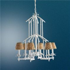 Bamboo Tower Chandelier - 6 Light (6 colors)    Price:  $395.00  Turquoise, Coral, Greed, Red, White, Yellow