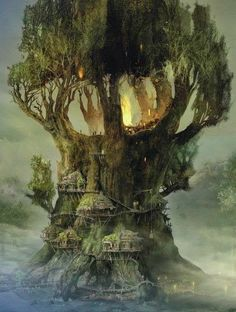 Wow this is a pretty nice fantasy tree house Fantasy Places, Fantasy World, Fantasy House, Fantasy City, Fantasy Castle, High Fantasy, Fantasy Artwork, Fantasy Setting, Fantasy Kunst