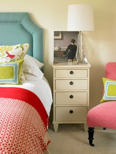 House of Turquoise: Amory Brown - red and white prints mix with green, blue and a white nightstand