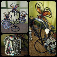 Repurposed candle holder... Bracelet and hairband holder