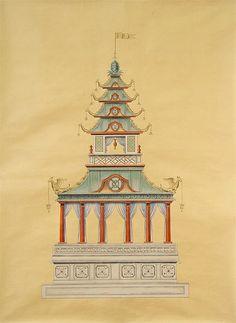 Pagoda Panel #4, 36'w x 48'h, handpainted on silk by Paul Montgomery Studio, $325