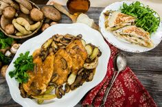Mouth-watering chicken marsala with pan roasted fingerling potatoes by Roni Porter! Don't miss Home & Family weekdays at on Hallmark Channel Meat Recipes, Chicken Recipes, Cooking Recipes, Healthy Recipes, Chicken Meals, Dinner Recipes, Family Meals, Family Recipes, Family Tv
