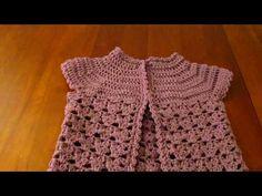 ▶ Crochet girls short sleeve cardigan coverup sweater - YouTube без МК, но красиво, можно попробовать связать, похоже, кокетка расходится клиньями