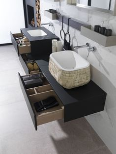 Soft Collection: Minimalist beauty & technological finishes in the new modular ‪bathroom‬ furniture by Gamadecor