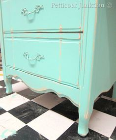 Turquoise painted French Provincial Furniture, Petticoat Junktion