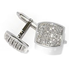 18kt White Gold and Diamond Square Cufflinks