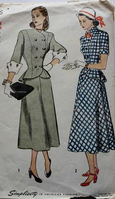 Vintage Sewing Pattern 1940s Two Piece by BluetreeSewingStudio, $18.00