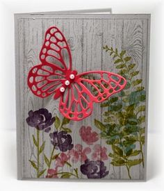 The card - stamped images and butterfly die are from SU. The woodgrain background is stamped with smoky...