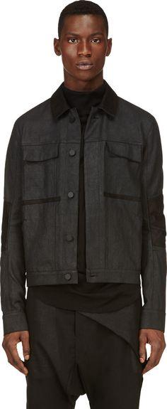 Alexandre Plokhov: Black Coated Denim Jacket | SSENSE