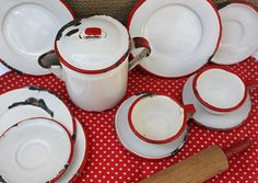 love red and white vintage enamelware