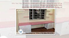 Góc học tập trang trí chủ đề Hello Kitty dành cho 2 bé gái đặt áp cửa sổ...