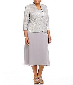 Alex Evenings Plus TeaLength Mock 2Piece Jacket Dress #Dillards